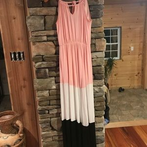 Pink color block Maxi dress size small